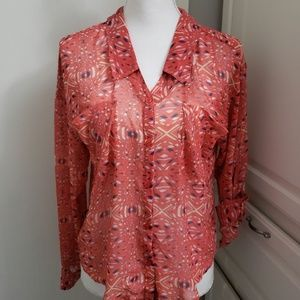 FREE PEOPLE Blouse coral hi low XS